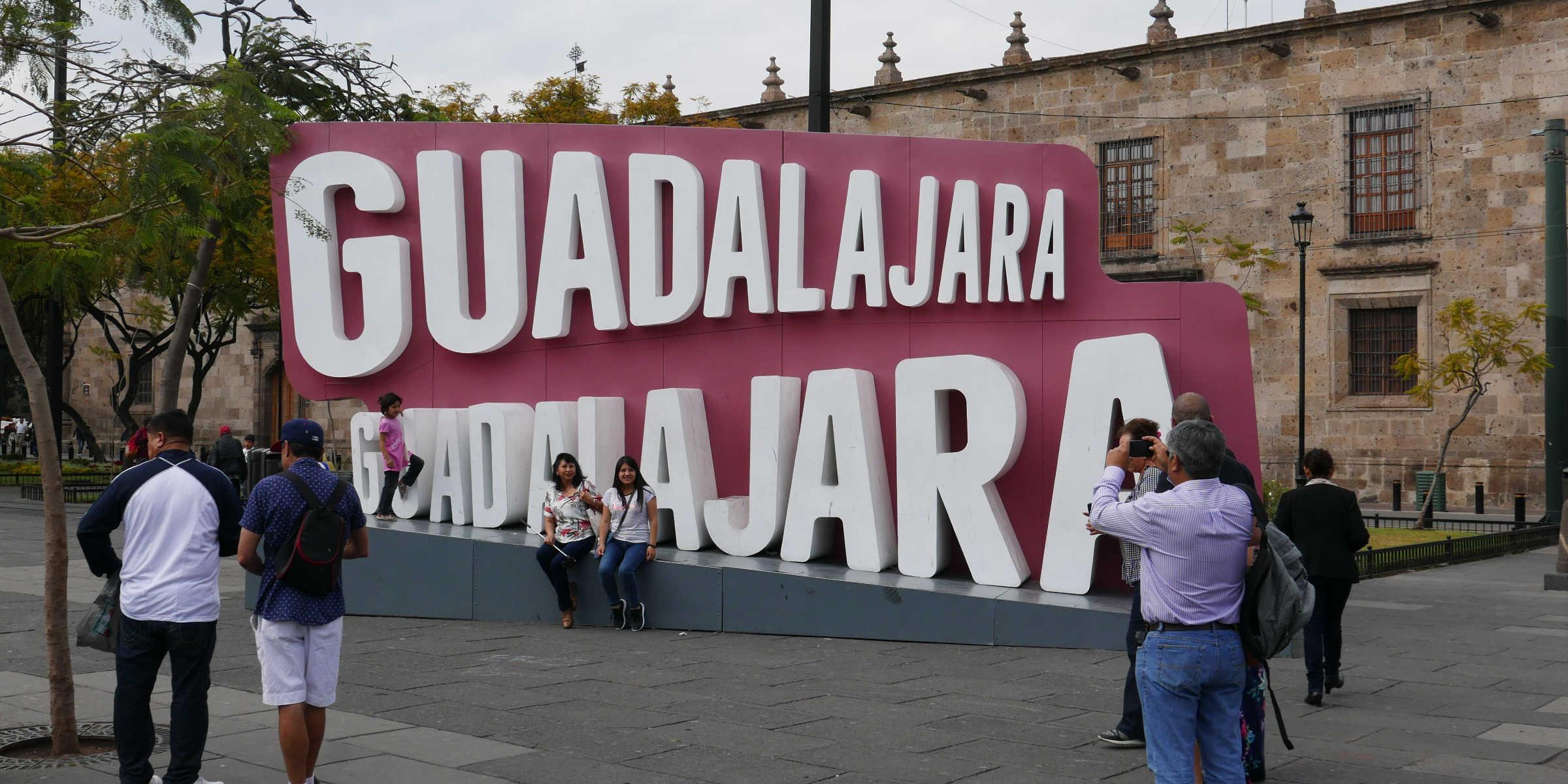 Logo of Guadalajara in the city centre