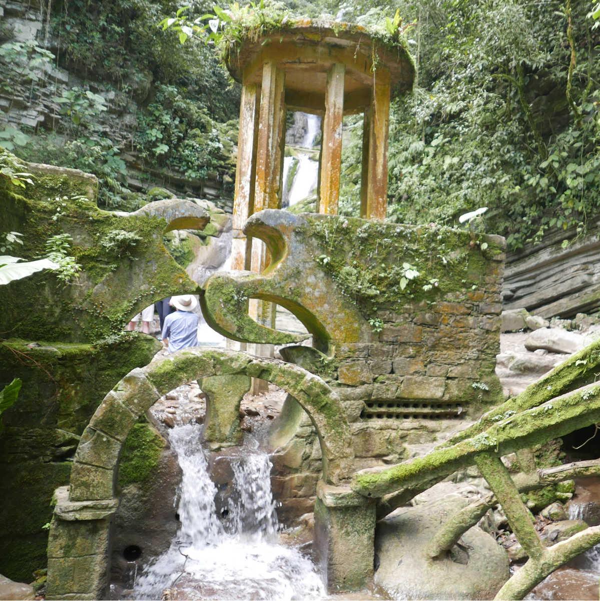 Waterfall in the jungle in Las Pozas surrealist garden in Xilitla