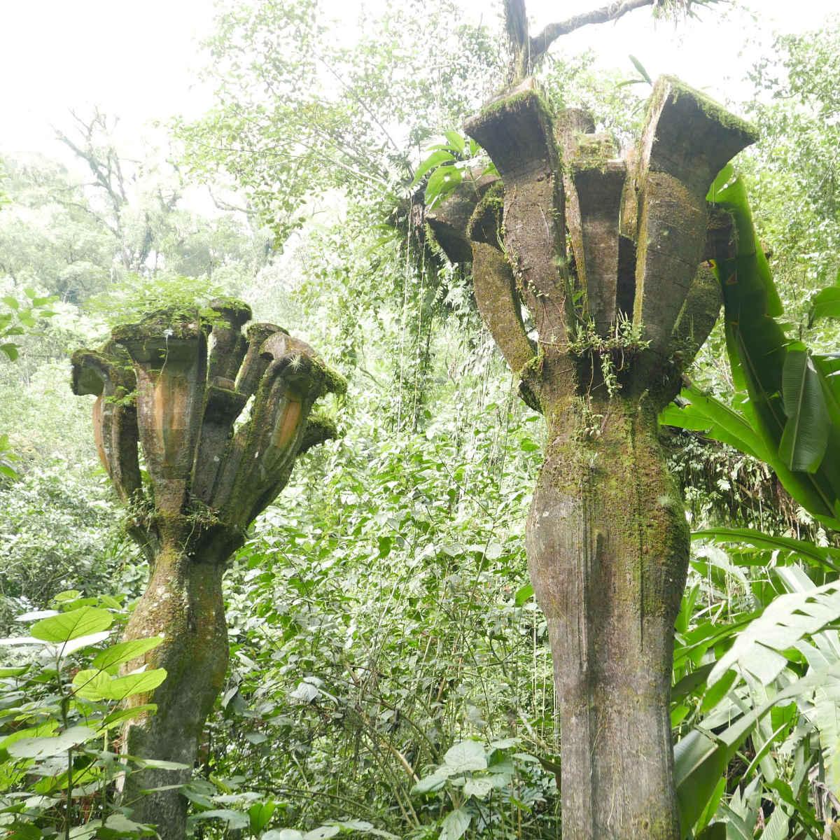 Torches sculpture in Las Pozas surrealist garden in Xilitla