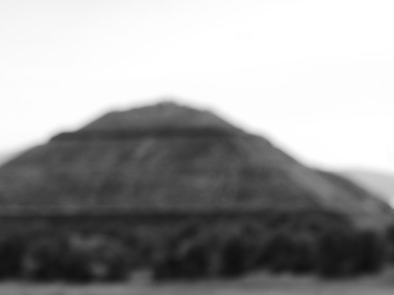 Pyramid of the sun in Teotihuacan, blurred