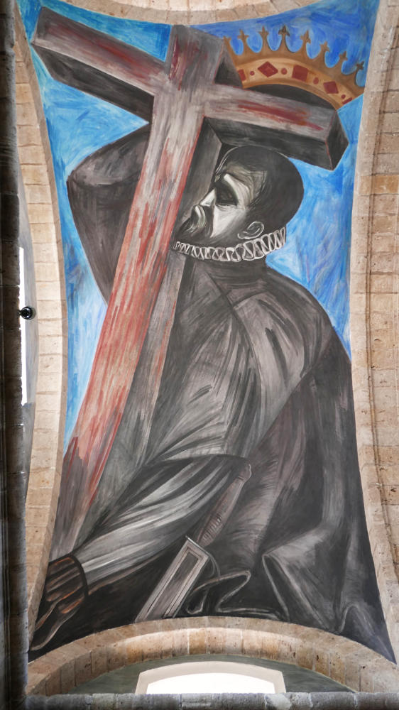 The King of Spain hiding behind a wooden cross. Orozco mural
