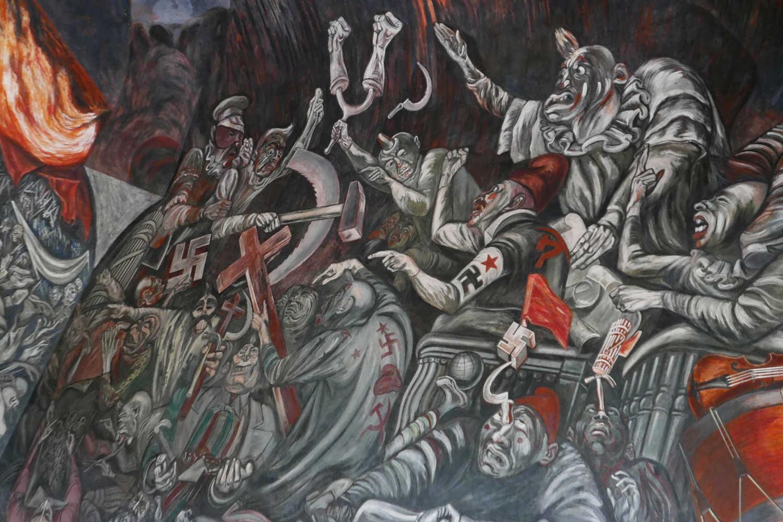 Detail of Lucha Social mural by Orozco, above main staircase of Palacio Gobierno in Guadalajara