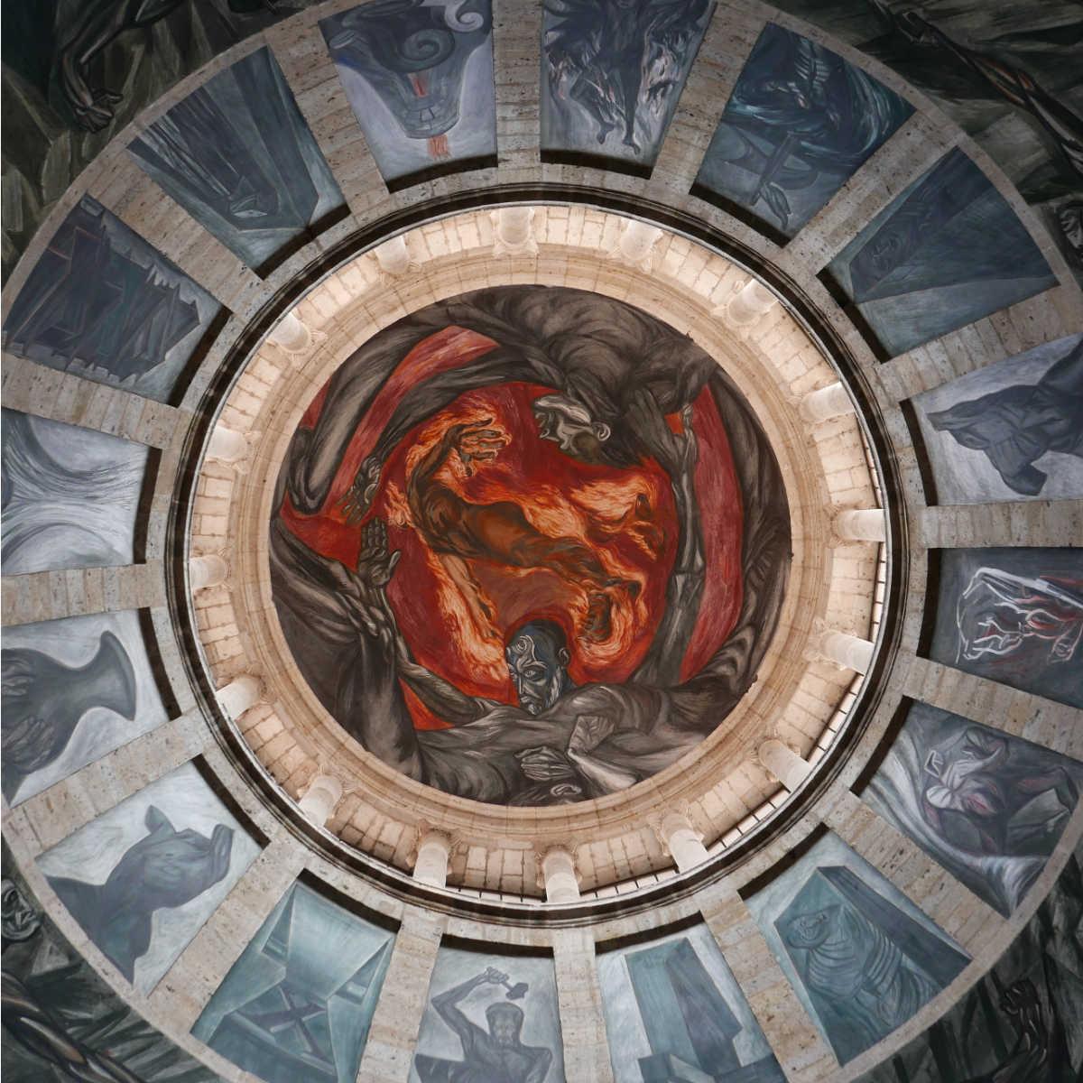 Orozco's famous Man of Fire in the dome of Hospicio Cabanas in Guadalajara