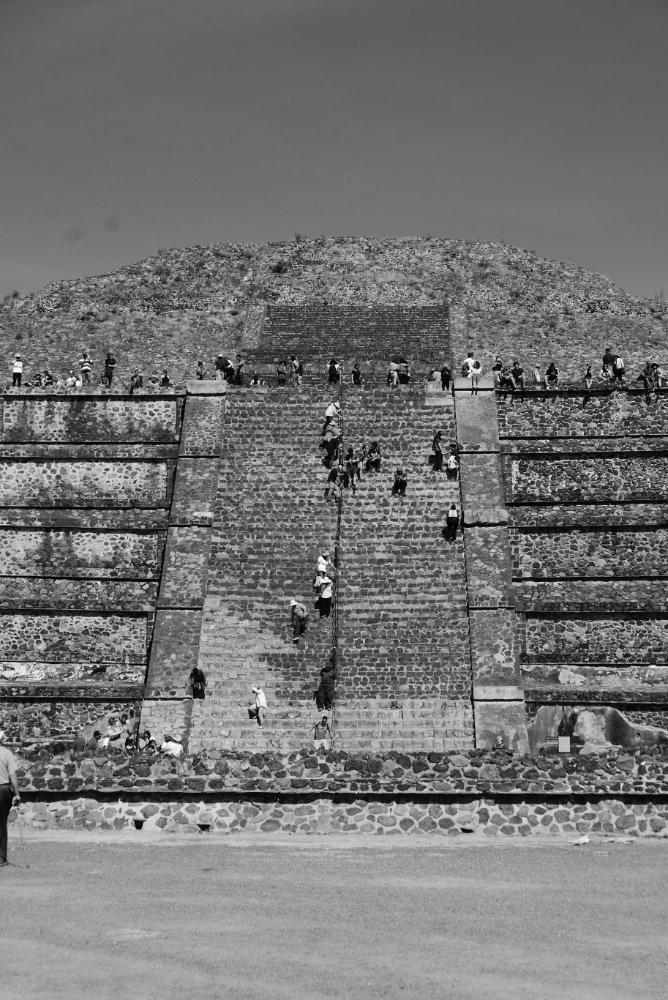 Close-up of Pyramid of the Moon in Teotihuacan