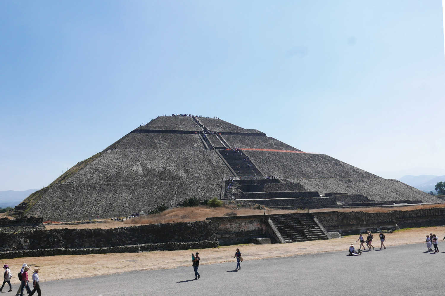 Overview of Pyramid of the Sun in Teotihuacan from Avenue of the Dead