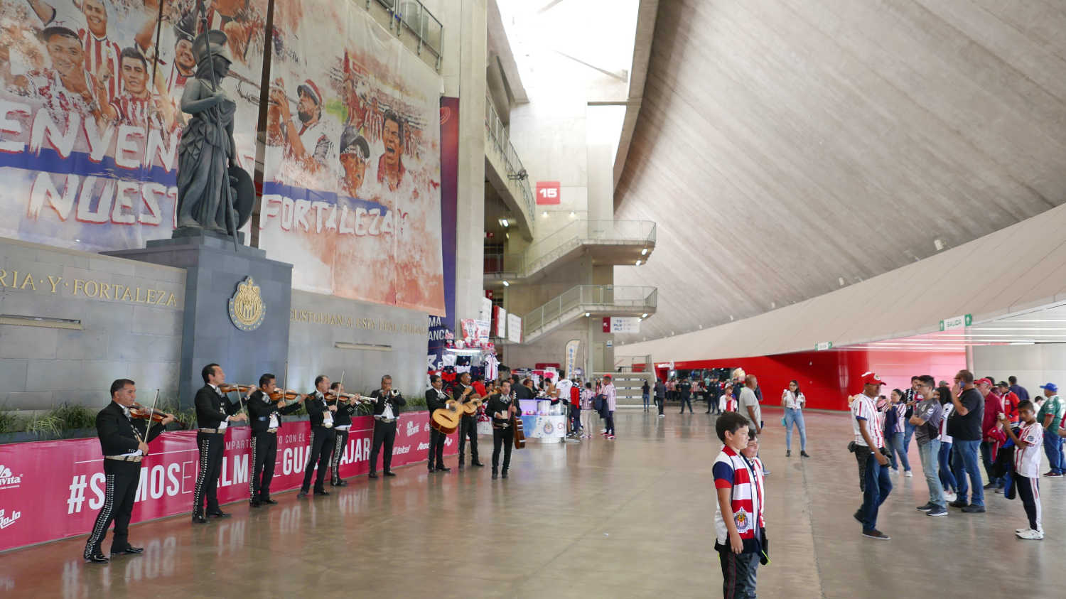 Band playing mariachi music on the concourse of Chivas stadium in Guadalajara