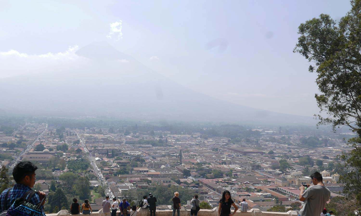 Panorama picture of Antigua Guatemala, with Volcan de Agua in the background