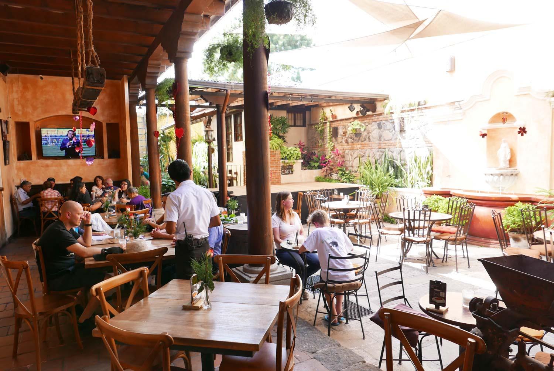 Patio of El Viejo cafe in Antigua Guatemala