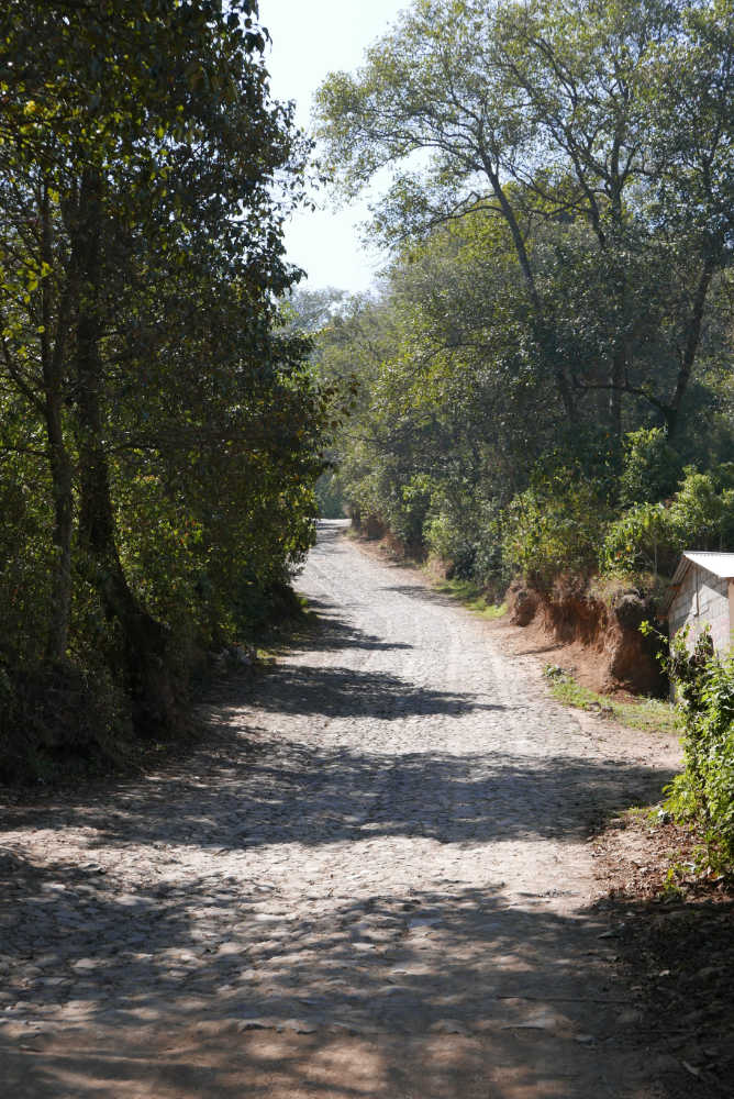 Outside San Martin, a cobblestone street takes you further towards Lake Chicabal