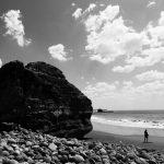 Rock at El Sunzal beach, near El Tunco village, El Salvador