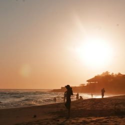 Sunset at El Sunzal beach, El Tunco village, El Salvador