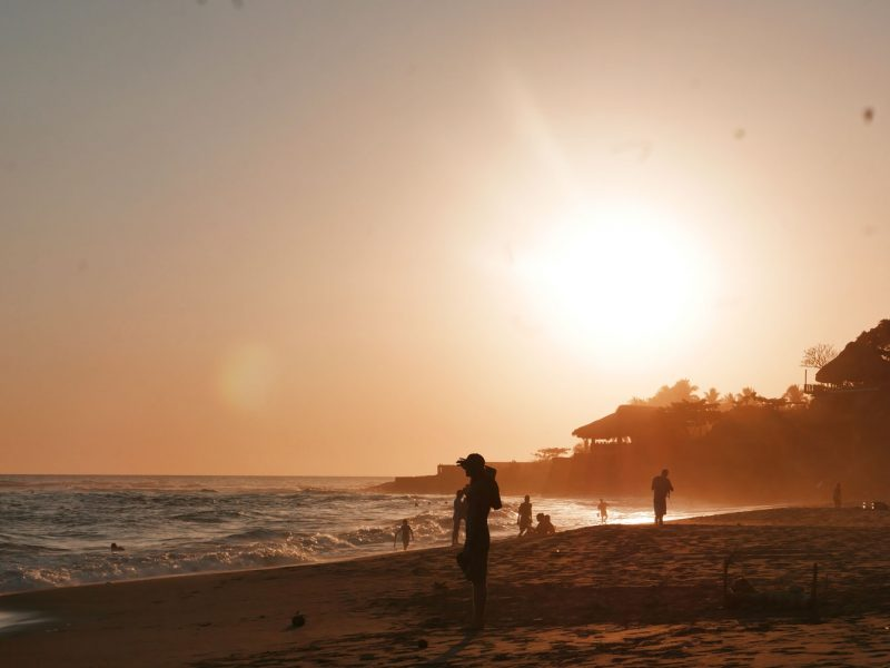 Sunset at El Sunzal beach, El Tunco village, El Salvador