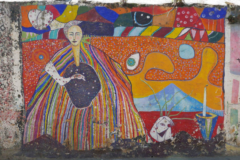 Street art outside the cemetery in Xela