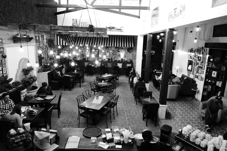The beautiful atrium of Baviera cafe in Xela