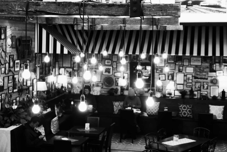 Lights in Cafe Baviera in Xela