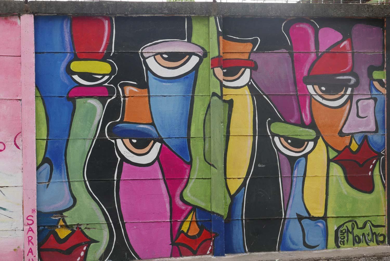 Funny figures graffiti in Esteli, Nicaragua