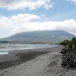 Playa San Fernando on Ometepe island in Nicaragua, with a view of Volcan Maderas