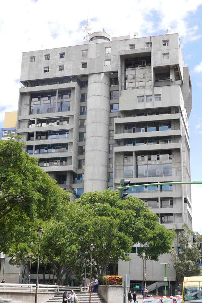Brutalist highrise in the center of San Jose, Costa Rica