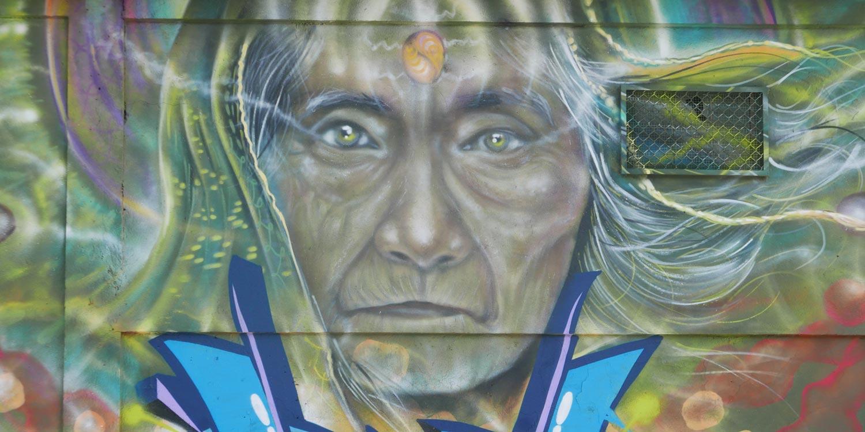 Old woman. Street art in San Jose, Costa Rica. Near the university
