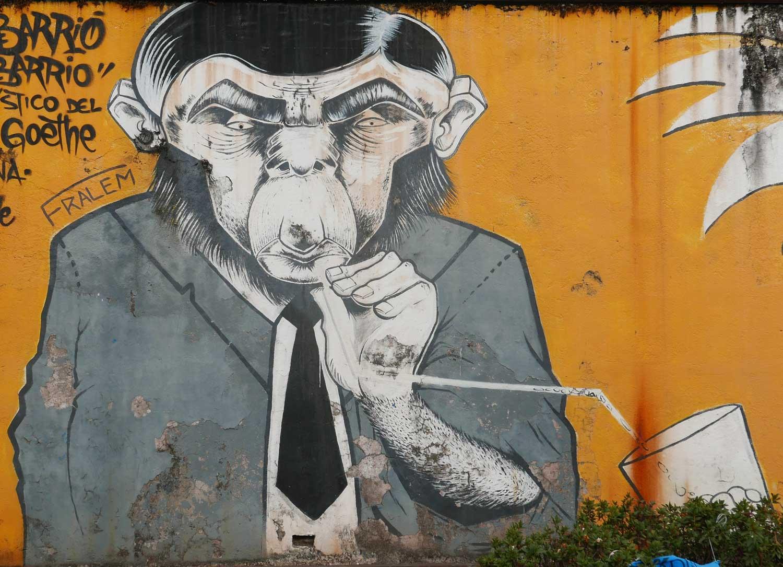 Professor Monkey. Street art in San Jose, Costa Rica