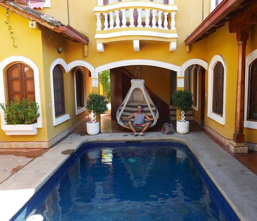 Yours truly in Casa de Agua guesthouse in Granada, Nicaragua