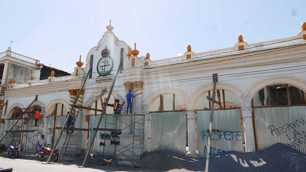 A government building, burnt down during the 2018 riots, under reconstruction in Granada, Nicaragua