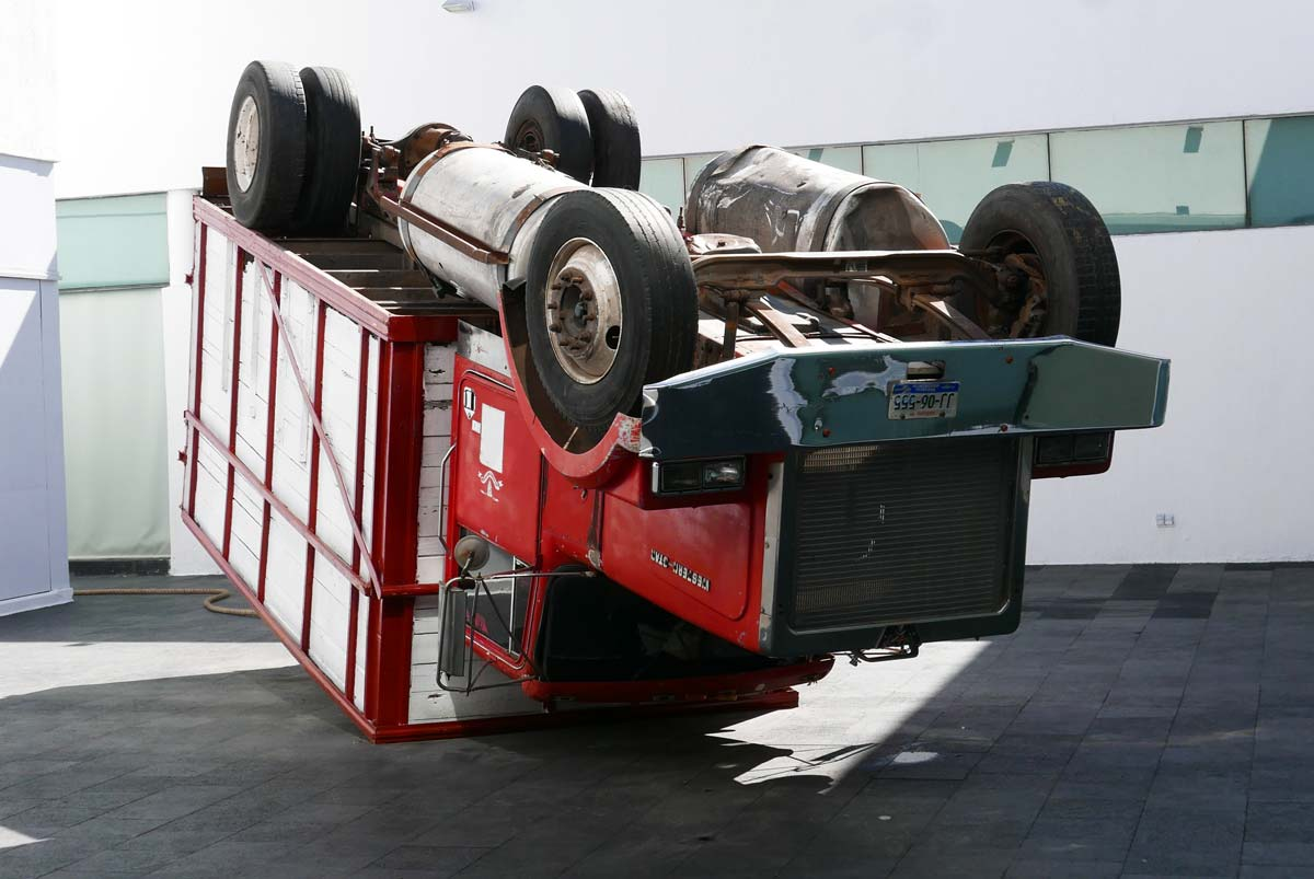Crashed truck as art in the MAZ in Zapopan district, Guadalajara
