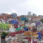 The typical colorful houses on the steep hills of Guanajuato