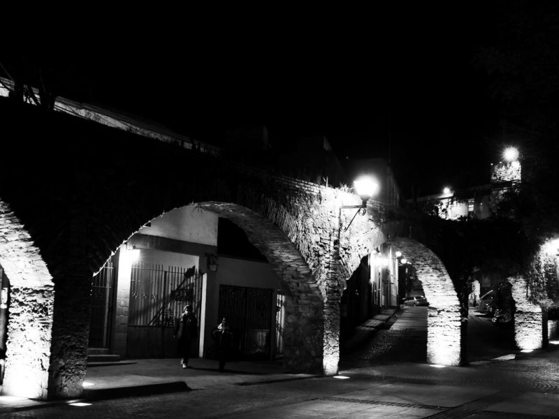 Stone arches by night in Guanajuato
